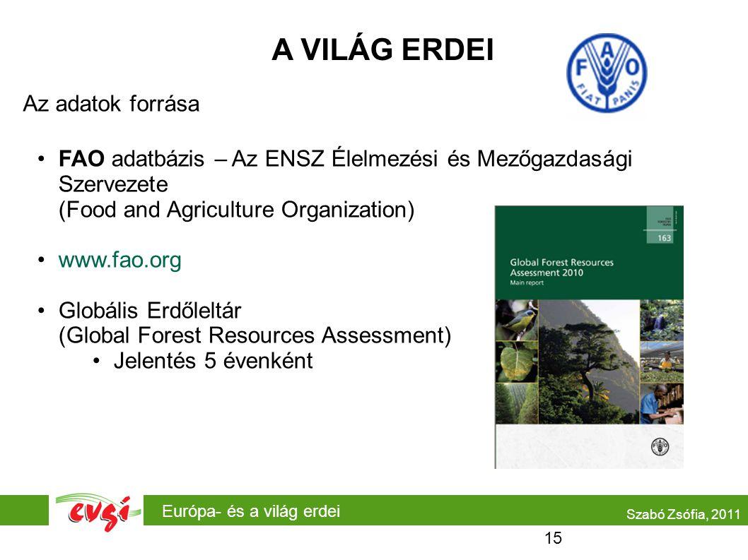 Európa- és a világ erdei A VILÁG ERDEI Az adatok forrása •FAO adatbázis – Az ENSZ Élelmezési és Mezőgazdasági Szervezete (Food and Agriculture Organization) •www.fao.org •Globális Erdőleltár (Global Forest Resources Assessment) •Jelentés 5 évenként Szabó Zsófia, 2011 15