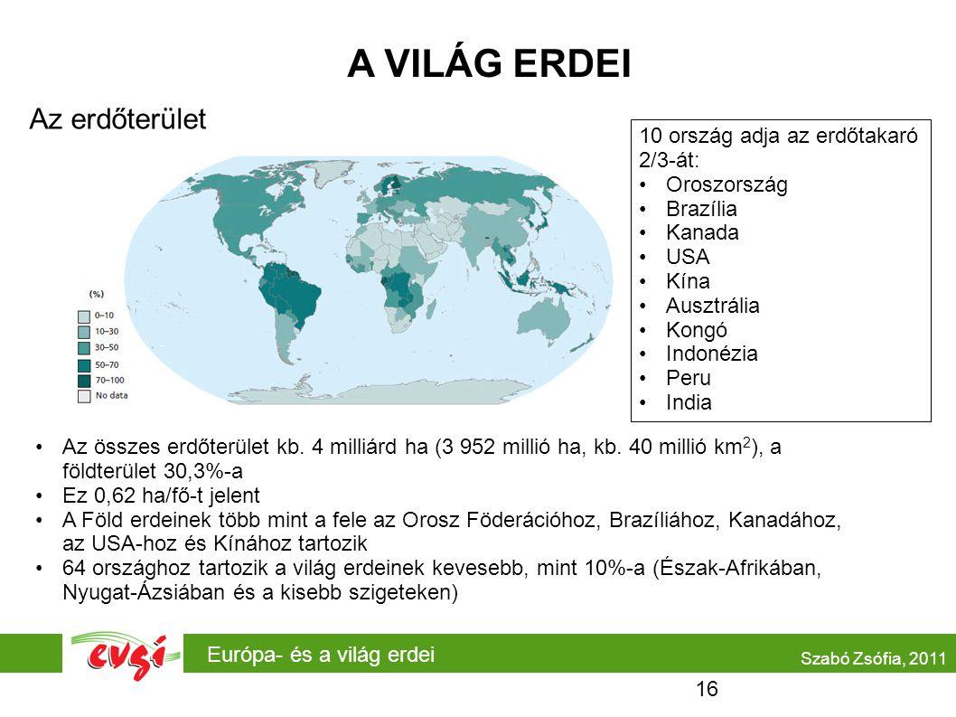 Európa- és a világ erdei A VILÁG ERDEI Az erdőterület Szabó Zsófia, 2011 •Az összes erdőterület kb.