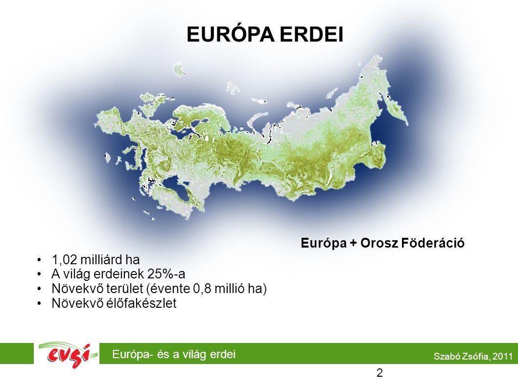 Európa- és a világ erdei EURÓPA ERDEI •1,02 milliárd ha •A világ erdeinek 25%-a •Növekvő terület (évente 0,8 millió ha) •Növekvő élőfakészlet Európa + Orosz Föderáció Szabó Zsófia, 2011 2