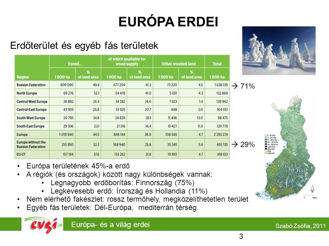 Európa- és a világ erdei Szabó Zsófia, 2011 EURÓPA ERDEI Erdőterület és egyéb fás területek  71%  29% •Európa területének 45%-a erdő •A régiók (és országok) között nagy különbségek vannak: •Legnagyobb erdőborítás: Finnország (75%) •Legkevesebb erdő: Írország és Hollandia (11%) •Nem elérhető fakészlet: rossz termőhely, megközelíthetetlen terület •Egyéb fás területek: Dél-Európa, mediterrán térség.