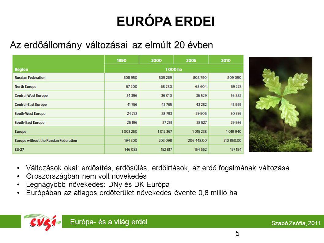 Európa- és a világ erdei EURÓPA ERDEI Az erdőállomány változásai az elmúlt 20 évben •Változások okai: erdősítés, erdősülés, erdőirtások, az erdő fogalmának változása •Oroszországban nem volt növekedés •Legnagyobb növekedés: DNy és DK Európa •Európában az átlagos erdőterület növekedés évente 0,8 millió ha Szabó Zsófia, 2011 5