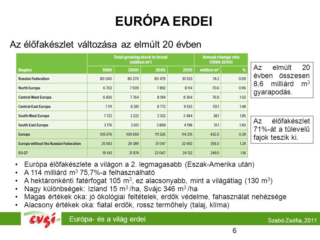 Európa- és a világ erdei EURÓPA ERDEI Az élőfakészlet változása az elmúlt 20 évben •Európa élőfakészlete a világon a 2.