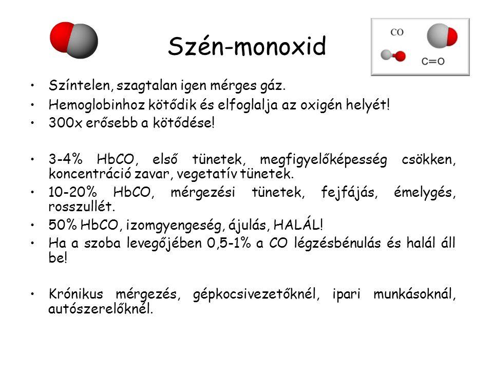 Szén-monoxid •Színtelen, szagtalan igen mérges gáz. •Hemoglobinhoz kötődik és elfoglalja az oxigén helyét! •300x erősebb a kötődése! •3-4% HbCO, első