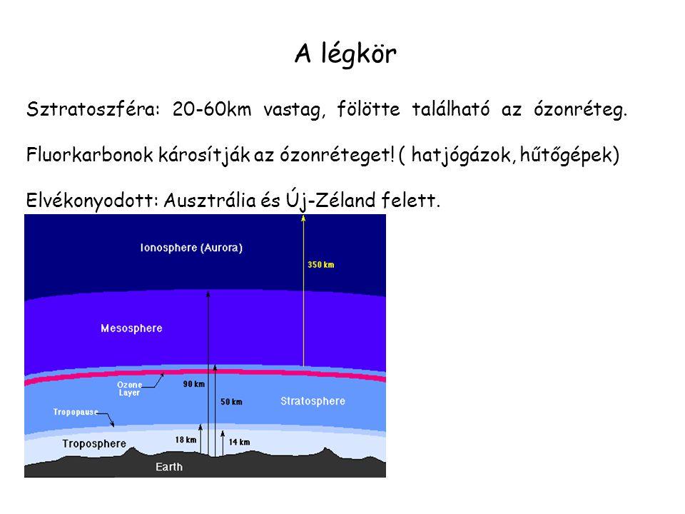 A légkör Sztratoszféra: 20-60km vastag, fölötte található az ózonréteg. Fluorkarbonok károsítják az ózonréteget! ( hatjógázok, hűtőgépek) Elvékonyodot