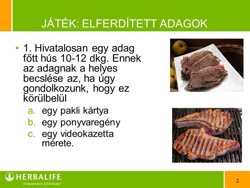 2 JÁTÉK: ELFERDÍTETT ADAGOK •1•1. Hivatalosan egy adag főtt hús 10-12 dkg. Ennek az adagnak a helyes becslése az, ha úgy gondolkozunk, hogy ez körülbe