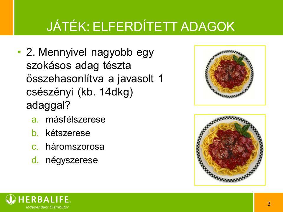 4 JÁTÉK: ELFERDÍTETT ADAGOK •3•3.Húsz évvel ezelőtt egy átlagos sajtburgerben 335 kalória volt.
