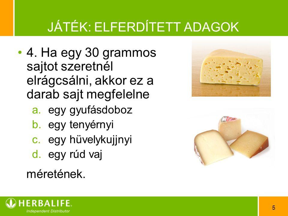 5 JÁTÉK: ELFERDÍTETT ADAGOK •4•4. Ha egy 30 grammos sajtot szeretnél elrágcsálni, akkor ez a darab sajt megfelelne a.egy gyufásdoboz b.egy tenyérnyi c