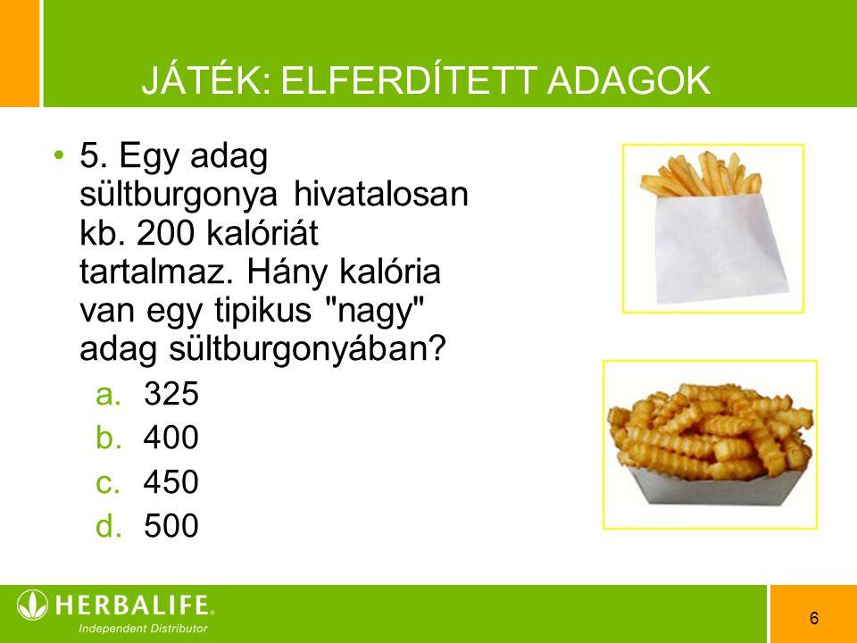 6 JÁTÉK: ELFERDÍTETT ADAGOK •5•5. Egy adag sültburgonya hivatalosan kb. 200 kalóriát tartalmaz. Hány kalória van egy tipikus