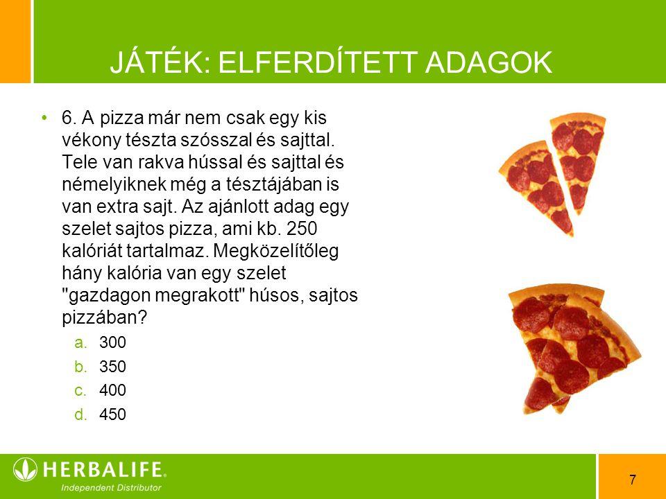 7 JÁTÉK: ELFERDÍTETT ADAGOK •6•6. A pizza már nem csak egy kis vékony tészta szósszal és sajttal. Tele van rakva hússal és sajttal és némelyiknek még