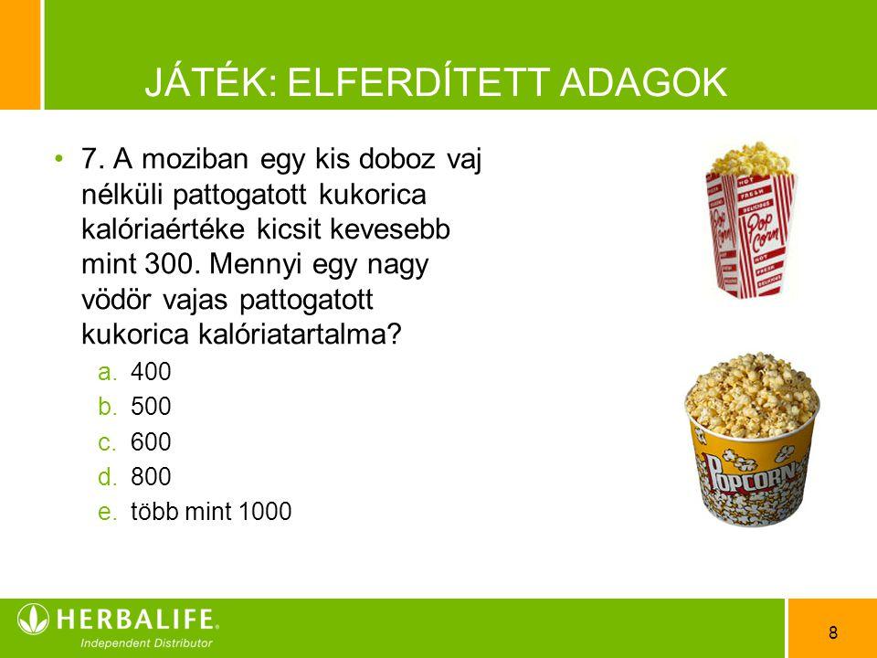 8 JÁTÉK: ELFERDÍTETT ADAGOK •7•7. A moziban egy kis doboz vaj nélküli pattogatott kukorica kalóriaértéke kicsit kevesebb mint 300. Mennyi egy nagy vöd