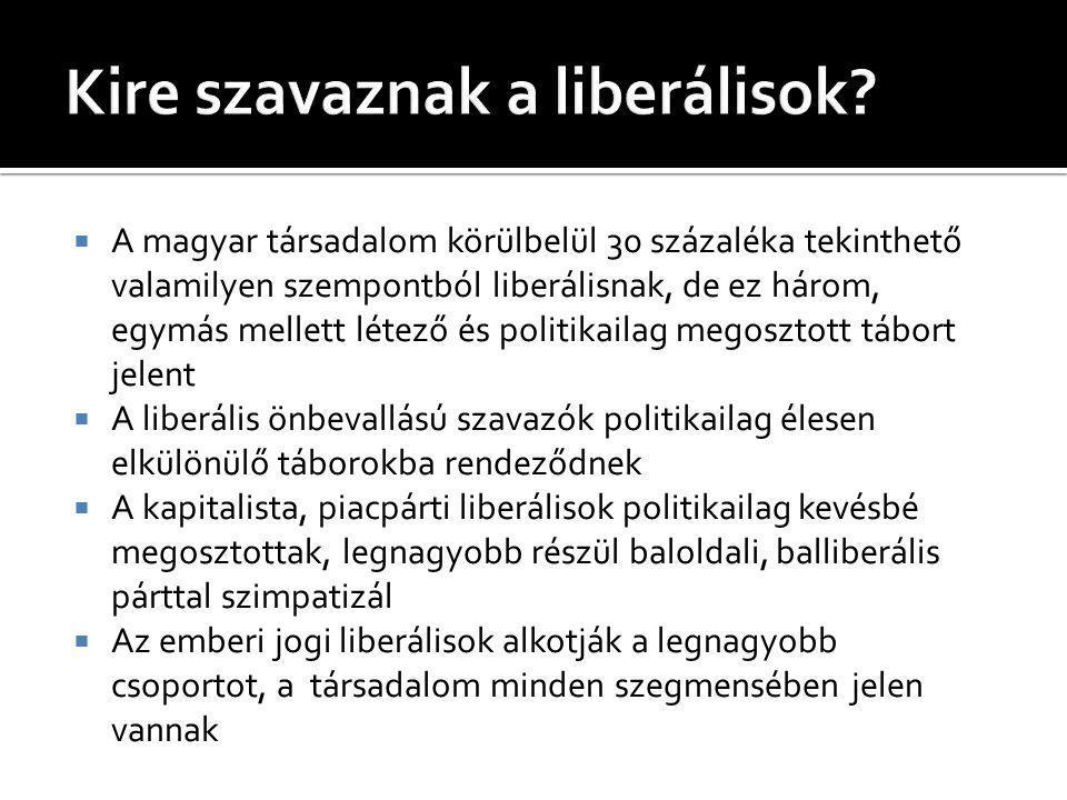  A magyar társadalom körülbelül 30 százaléka tekinthető valamilyen szempontból liberálisnak, de ez három, egymás mellett létező és politikailag megosztott tábort jelent  A liberális önbevallású szavazók politikailag élesen elkülönülő táborokba rendeződnek  A kapitalista, piacpárti liberálisok politikailag kevésbé megosztottak, legnagyobb részül baloldali, balliberális párttal szimpatizál  Az emberi jogi liberálisok alkotják a legnagyobb csoportot, a társadalom minden szegmensében jelen vannak