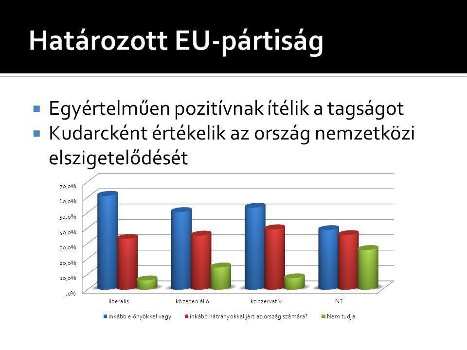  Egyértelműen pozitívnak ítélik a tagságot  Kudarcként értékelik az ország nemzetközi elszigetelődését
