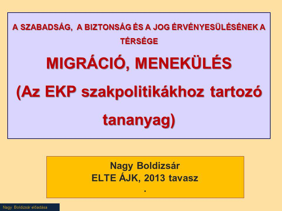Nagy Boldizsár előadása Fogadási feltételek irányelv Cél: Méltó életszínvonalat, illetve a valamennyi tagállamban hasonló megélhetési feltételeket biztosítsanak az eljárás során és a menedékkérők fogadására vonatkozó feltételek összehangolása révén csökkentsék a menedékkérők eltérő befogadási feltételek miatti másodlagos migrációját Hatály: Kötelező VálaszthatóNem alkalmazandó Genfi Egyezmény Kiegészítő védelem Átmeneti védelem szerinti státusz iránti kérelem iránti kérelem (Mindegyik kérelemről ez a vélelem)) Csak a minimumot írja elő – az államok túlteljesíthetik!