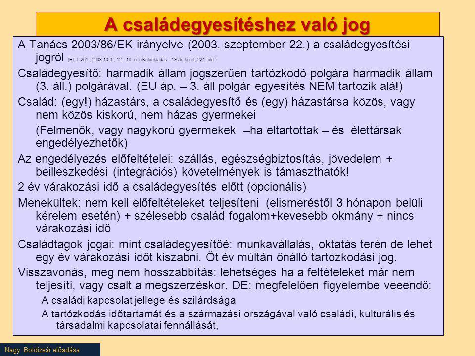 Nagy Boldizsár előadása A családegyesítéshez való jog A Tanács 2003/86/EK irányelve (2003. szeptember 22.) a családegyesítési jogról (HL L 251., 2003.