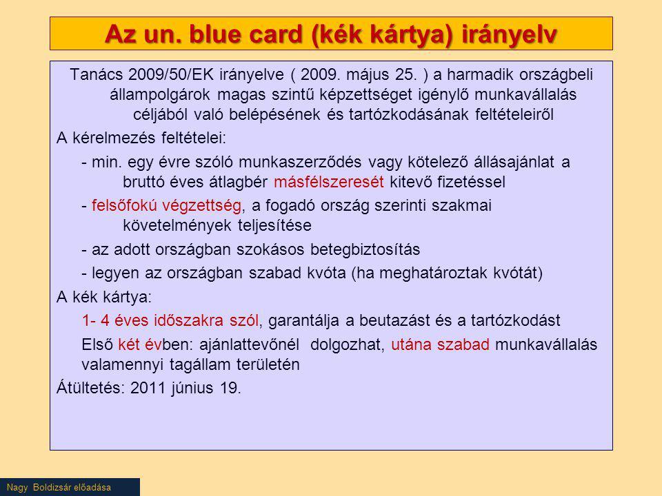 Nagy Boldizsár előadása Az un. blue card (kék kártya) irányelv Tanács 2009/50/EK irányelve ( 2009. május 25. ) a harmadik országbeli állampolgárok mag