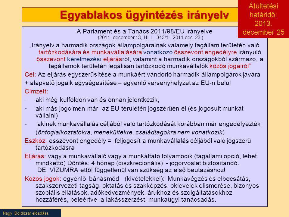 """Nagy Boldizsár előadása Egyablakos ügyintézés irányelv A Parlament és a Tanács 2011/98/EU irányelve (2011. december 13, HL L 343/1-. 2011.dec. 23.) """"I"""