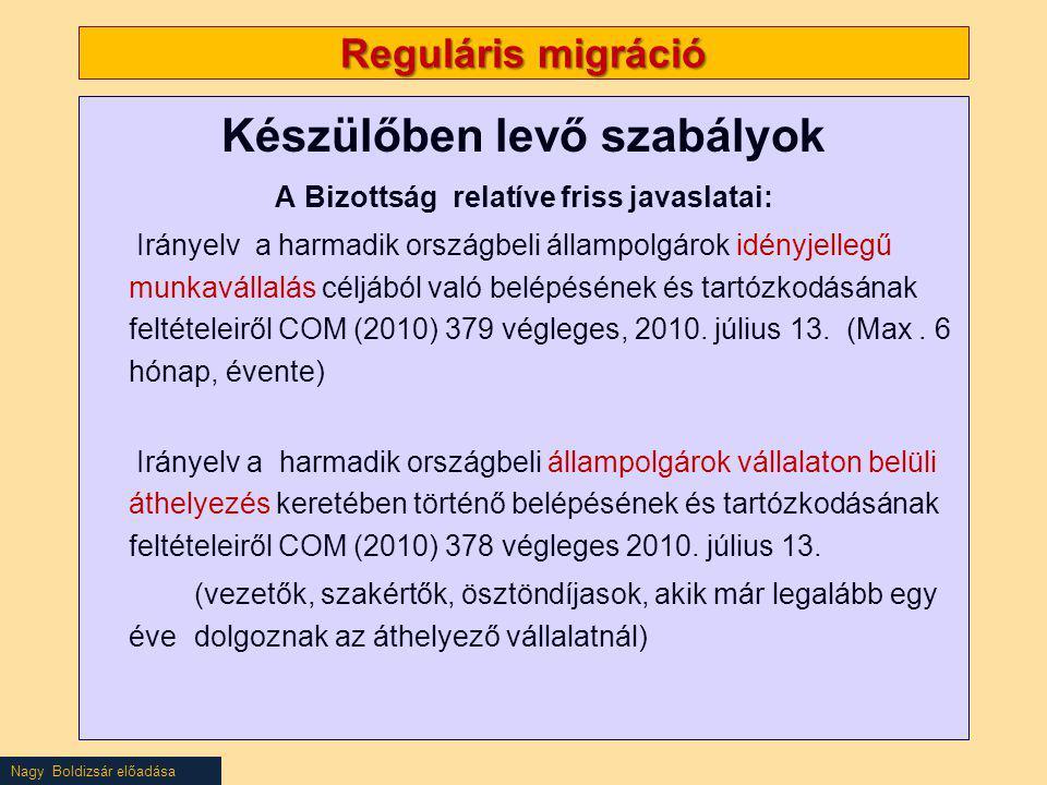 Nagy Boldizsár előadása Reguláris migráció Készülőben levő szabályok A Bizottság relatíve friss javaslatai: Irányelv a harmadik országbeli állampolgár