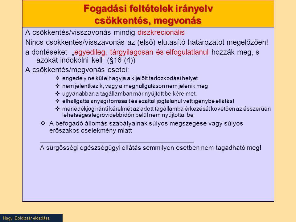 Nagy Boldizsár előadása Fogadási feltételek irányelv csökkentés, megvonás A csökkentés/visszavonás mindig diszkrecionális Nincs csökkentés/visszavonás