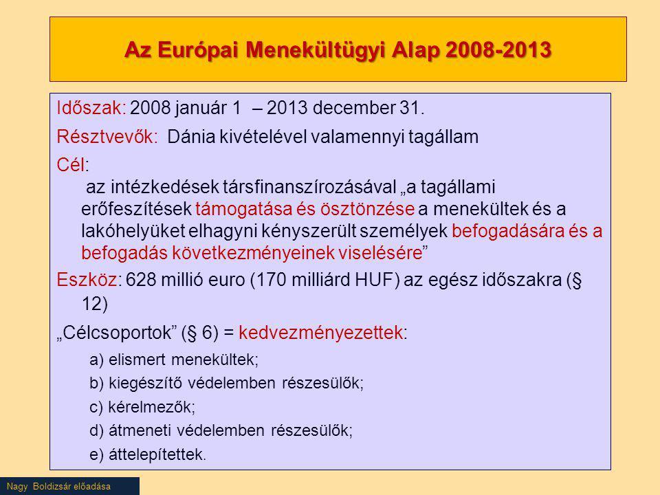 Nagy Boldizsár előadása Az Európai Menekültügyi Alap 2008-2013 Időszak: 2008 január 1 – 2013 december 31. Résztvevők: Dánia kivételével valamennyi tag