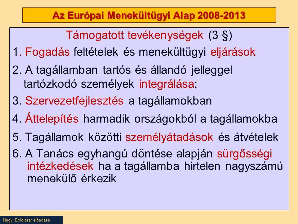 Nagy Boldizsár előadása Az Európai Menekültügyi Alap 2008-2013 Támogatott tevékenységek (3 §) 1. Fogadás feltételek és menekültügyi eljárások 2. A tag