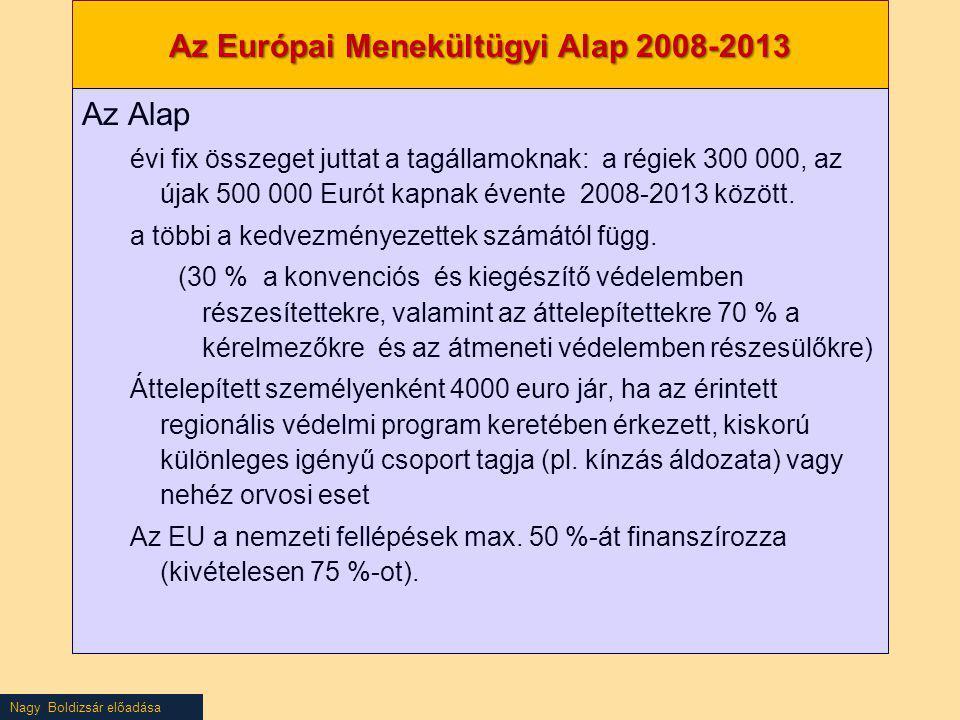 Nagy Boldizsár előadása Az Európai Menekültügyi Alap 2008-2013 Az Alap évi fix összeget juttat a tagállamoknak: a régiek 300 000, az újak 500 000 Euró