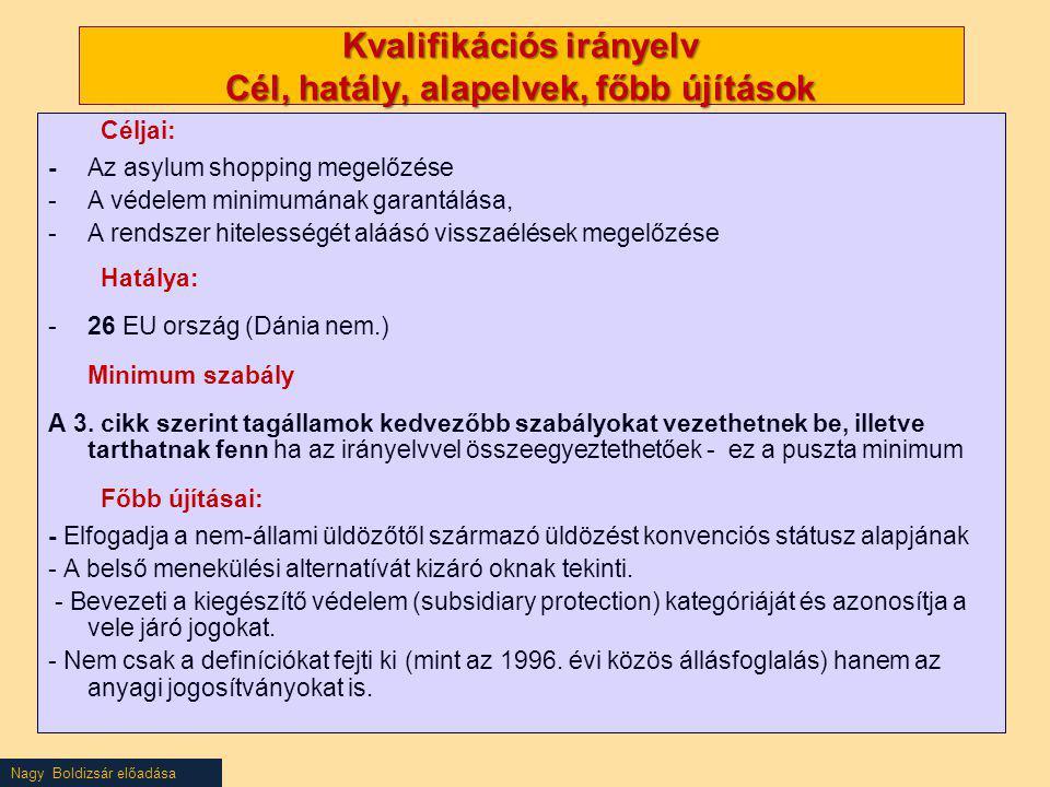 Nagy Boldizsár előadása Kvalifikációs irányelv Cél, hatály, alapelvek, főbb újítások Céljai: - Az asylum shopping megelőzése -A védelem minimumának ga
