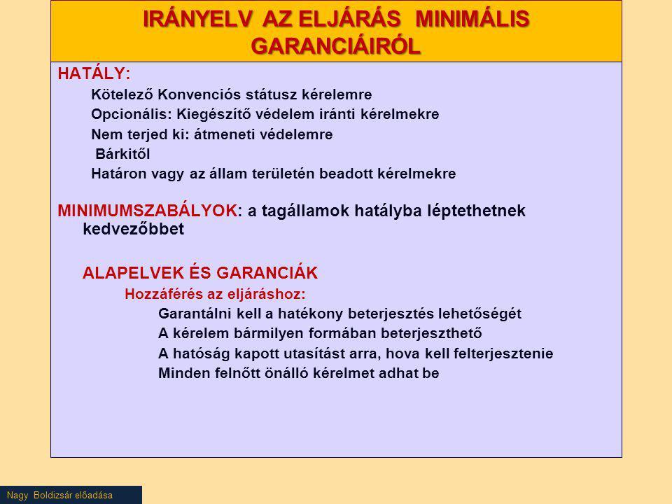 Nagy Boldizsár előadása IRÁNYELV AZ ELJÁRÁS MINIMÁLIS GARANCIÁIRÓL HATÁLY: Kötelező Konvenciós státusz kérelemre Opcionális: Kiegészítő védelem iránti