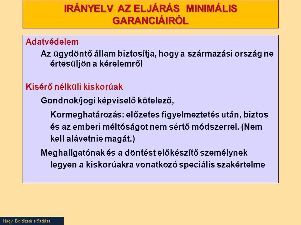 Nagy Boldizsár előadása IRÁNYELV AZ ELJÁRÁS MINIMÁLIS GARANCIÁIRÓL Adatvédelem Az ügydöntő állam biztosítja, hogy a származási ország ne értesüljön a