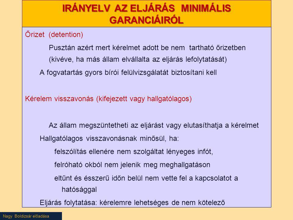Nagy Boldizsár előadása IRÁNYELV AZ ELJÁRÁS MINIMÁLIS GARANCIÁIRÓL Őrizet (detention) Pusztán azért mert kérelmet adott be nem tartható őrizetben (kiv
