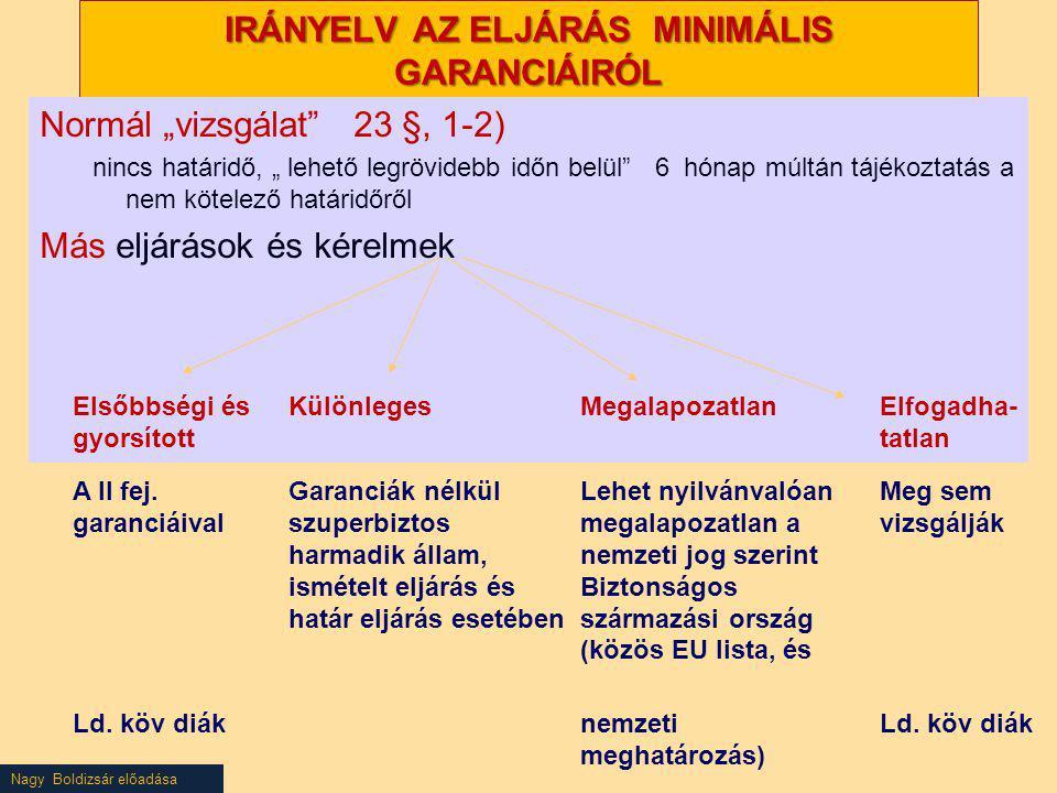 """Nagy Boldizsár előadása IRÁNYELV AZ ELJÁRÁS MINIMÁLIS GARANCIÁIRÓL Normál """"vizsgálat"""" 23 §, 1-2) nincs határidő, """" lehető legrövidebb időn belül"""" 6 hó"""