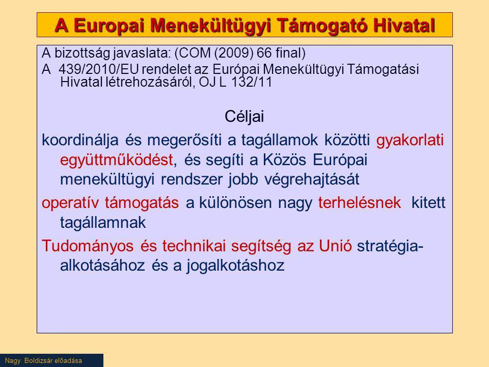 Nagy Boldizsár előadása A bizottság javaslata: (COM (2009) 66 final) A 439/2010/EU rendelet az Európai Menekültügyi Támogatási Hivatal létrehozásáról,