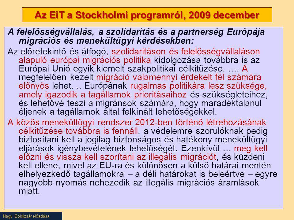 Nagy Boldizsár előadása Az EiT a Stockholmi programról, 2009 december A felelősségvállalás, a szolidaritás és a partnerség Európája migrációs és menek