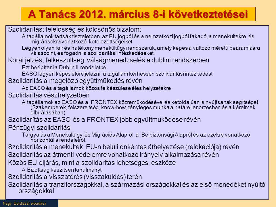 Nagy Boldizsár előadása A Tanács 2012. március 8-i következtetései Szolidaritás: felelősség és kölcsönös bizalom: A tagállamok tartsák tiszteletben az