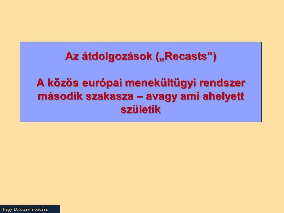"""Nagy Boldizsár előadása Az átdolgozások (""""Recasts"""") A közös európai menekültügyi rendszer második szakasza – avagy ami ahelyett születik"""