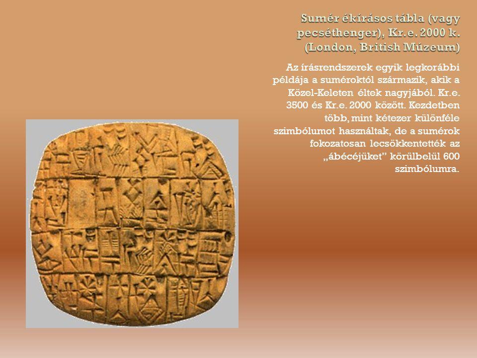 Az írásrendszerek egyik legkorábbi példája a suméroktól származik, akik a Közel-Keleten éltek nagyjából.