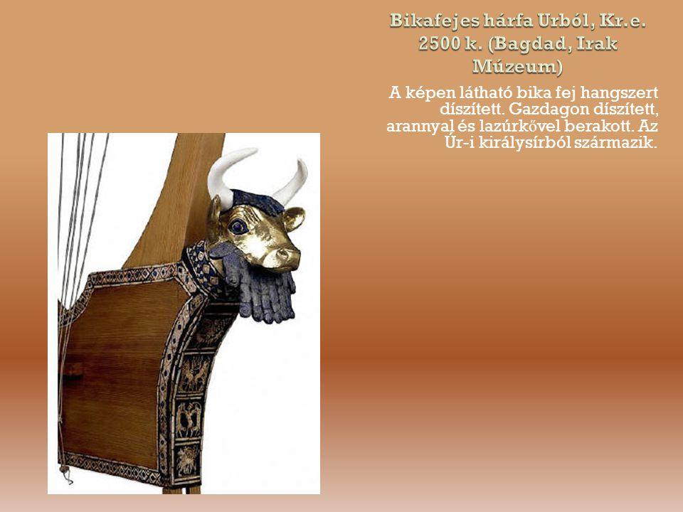 A képen látható bika fej hangszert díszített.