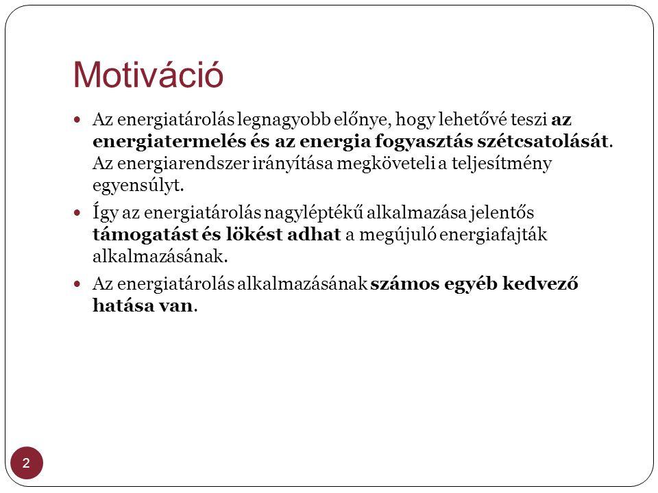Motiváció 2  Az energiatárolás legnagyobb előnye, hogy lehetővé teszi az energiatermelés és az energia fogyasztás szétcsatolását. Az energiarendszer