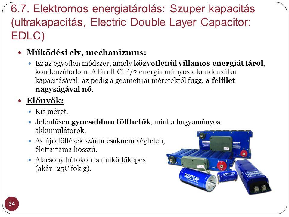 6.7. Elektromos energiatárolás: Szuper kapacitás (ultrakapacitás, Electric Double Layer Capacitor: EDLC) 34  Működési elv, mechanizmus:  Ez az egyet