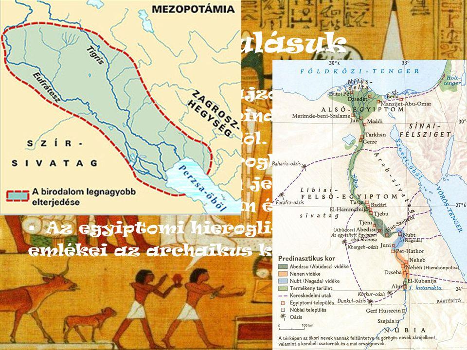 Fejl ő dése  A hieroglif írás fejl ő désének több útja ismert.