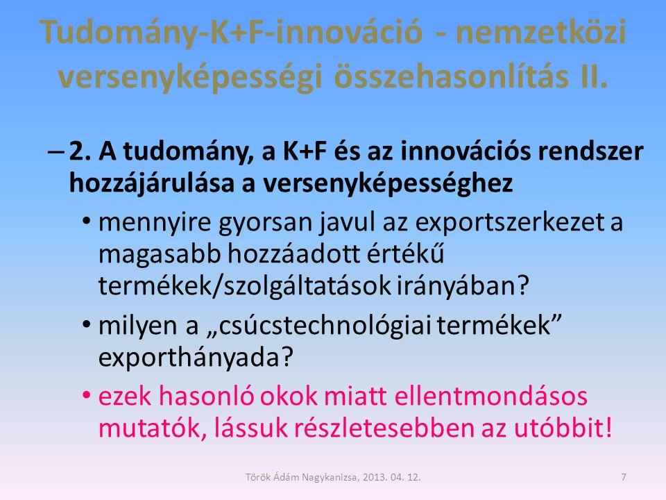 Csúcstechnológiai feldolgozóipari hozzáadott érték (Mrd dollár) 8 NSB, 2012, Science and engineering indicators Török Ádám Nagykanizsa, 2013.
