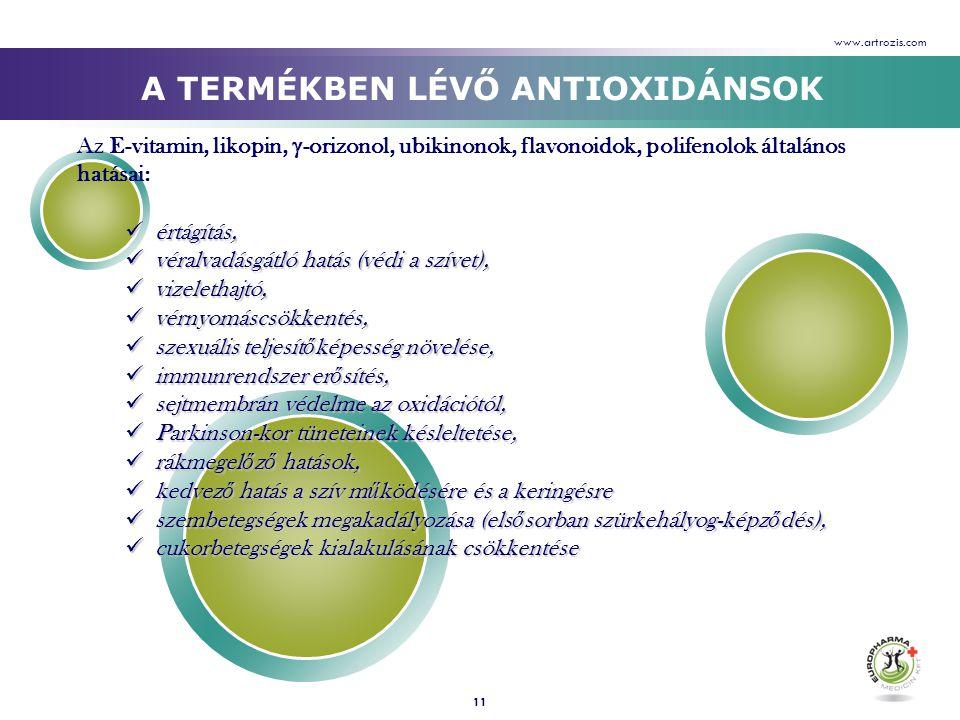 11 Az E-vitamin, likopin,  -orizonol, ubikinonok, flavonoidok, polifenolok általános hatásai:  értágítás,  véralvadásgátló hatás (védi a szívet), 