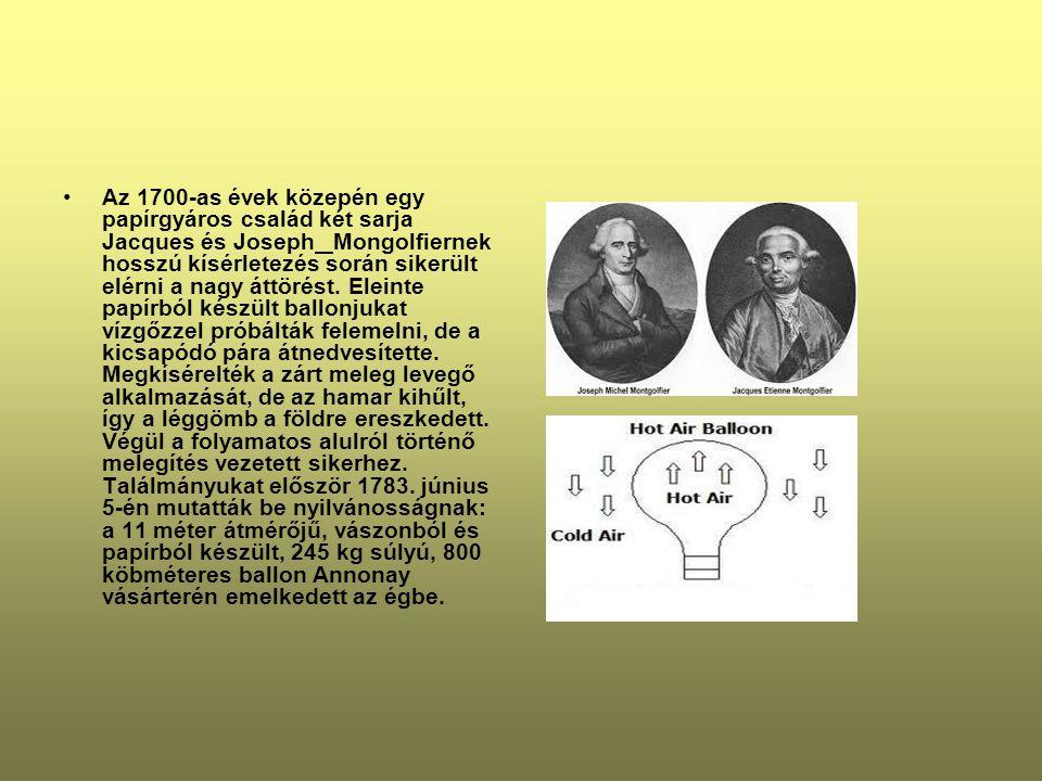 •Az 1700-as évek közepén egy papírgyáros család két sarja Jacques és Joseph Mongolfiernek hosszú kísérletezés során sikerült elérni a nagy áttörést.