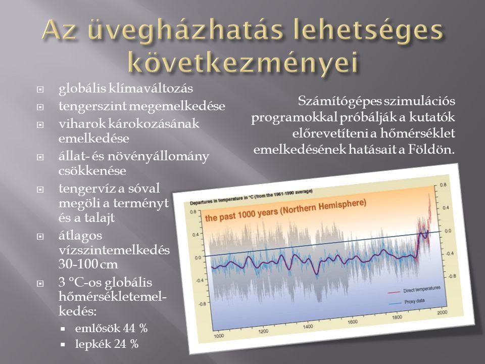  globális klímaváltozás  tengerszint megemelkedése  viharok károkozásának emelkedése  állat- és növényállomány csökkenése  tengervíz a sóval megöli a terményt és a talajt  átlagos vízszintemelkedés 30-100 cm  3 °C-os globális hőmérsékletemel- kedés:  emlősök 44 %  lepkék 24 % Számítógépes szimulációs programokkal próbálják a kutatók előrevetíteni a hőmérséklet emelkedésének hatásait a Földön.