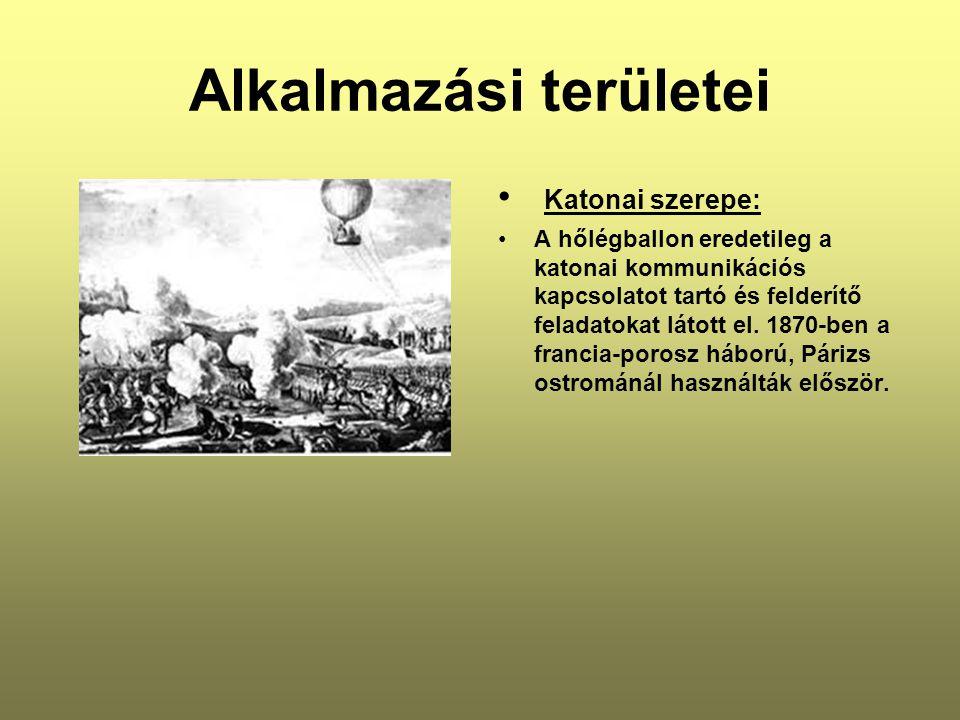 Alkalmazási területei • Katonai szerepe: •A hőlégballon eredetileg a katonai kommunikációs kapcsolatot tartó és felderítő feladatokat látott el.