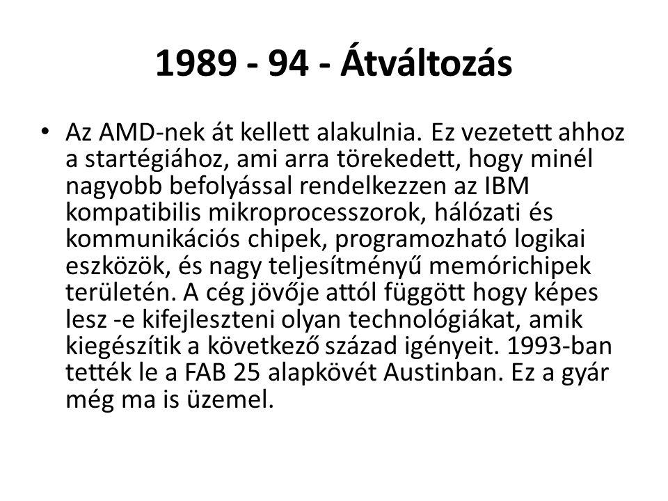 1989 - 94 - Átváltozás • Az AMD-nek át kellett alakulnia. Ez vezetett ahhoz a startégiához, ami arra törekedett, hogy minél nagyobb befolyással rendel