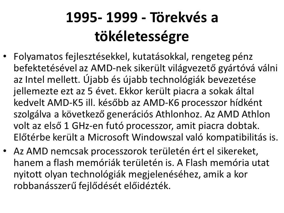 1995- 1999 - Törekvés a tökéletességre • Folyamatos fejlesztésekkel, kutatásokkal, rengeteg pénz befektetésével az AMD-nek sikerült világvezető gyártó