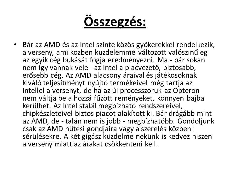 Összegzés: • Bár az AMD és az Intel szinte közös gyökerekkel rendelkezik, a verseny, ami közben küzdelemmé változott valószinűleg az egyik cég bukását
