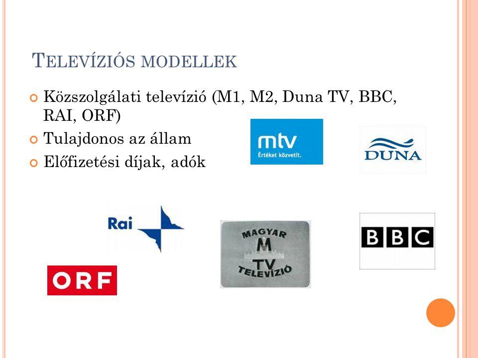 T ELEVÍZIÓS MODELLEK Közszolgálati televízió (M1, M2, Duna TV, BBC, RAI, ORF) Tulajdonos az állam Előfizetési díjak, adók