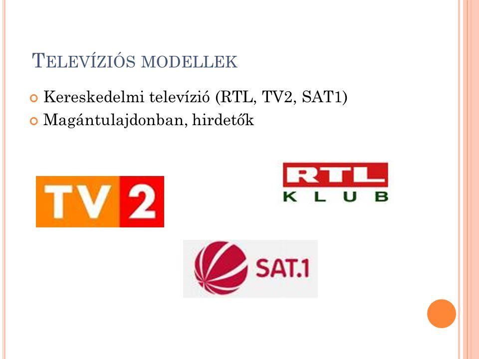 T ELEVÍZIÓS MODELLEK Kereskedelmi televízió (RTL, TV2, SAT1) Magántulajdonban, hirdetők