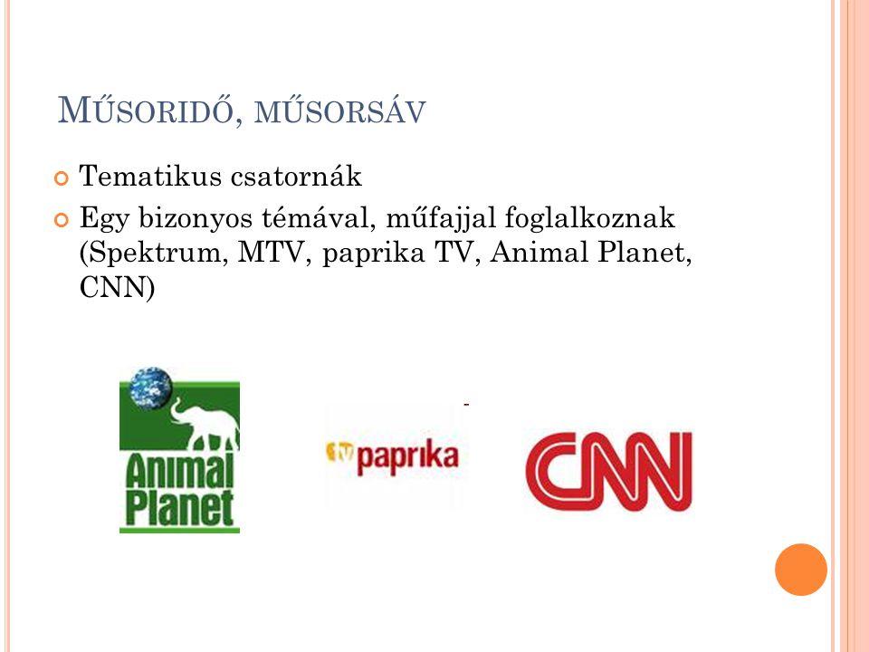 M ŰSORIDŐ, MŰSORSÁV Tematikus csatornák Egy bizonyos témával, műfajjal foglalkoznak (Spektrum, MTV, paprika TV, Animal Planet, CNN)